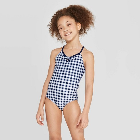 Girls' Gingham Family One Piece Swimsuit - Sun Squad™ - Navy - image 1 of 3