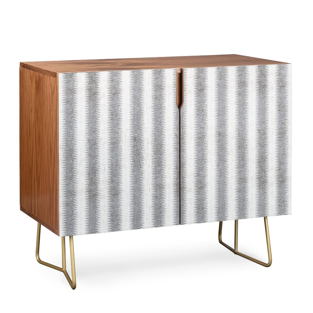 Holli Zollinger French Seaside Stripe Credenza Gold Legs Gray/Stripe - Deny Designs, Gray/Gold Legs