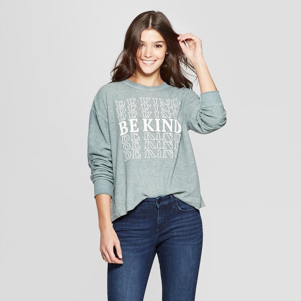 Women's Be Kind Sweatshirt - (Juniors') Modern Lux - Green XL