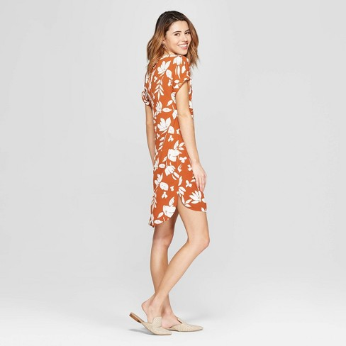 Women s Floral Print Short Sleeve V-Neck Crepe Dress - A New Day™ Rust.  Shop all A New Day™ 6f2783439