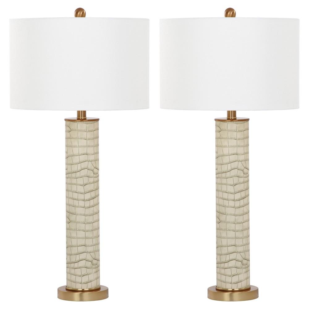 Image of Ollie Cream Faux Alligator Table Lamp Set of 2 - Safavieh, Ivory