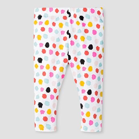 51bea456b Baby Girls' Paint Dot Leggings - Cat & Jack™ White 0-3M : Target