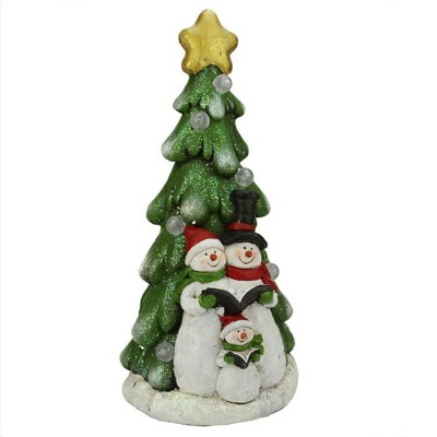 """Napco 19.5"""" Pre-Lit Red and Green LED Snowmen Christmas Figurine"""
