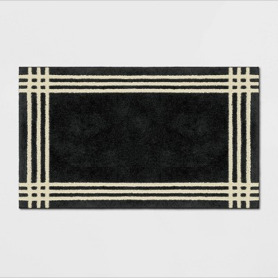 "20""x34"" Brownfield Border Easy Care Rug Black - Threshold™"