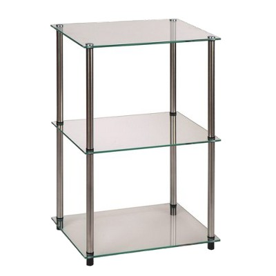 Classic Glass Tall 3 Tier End Table Clear Glass - Breighton Home