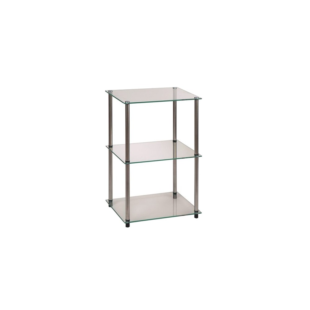 Classic Glass Tall 3 Tier End Table Clear Glass Breighton Home