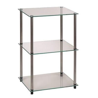 3 Tier Glass Square End Table   Convenience Concepts