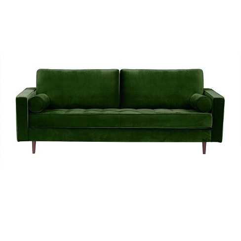 Bloomfield Mid - Century Modern Sofa with Bolster Pillows - Emerald - Aeon