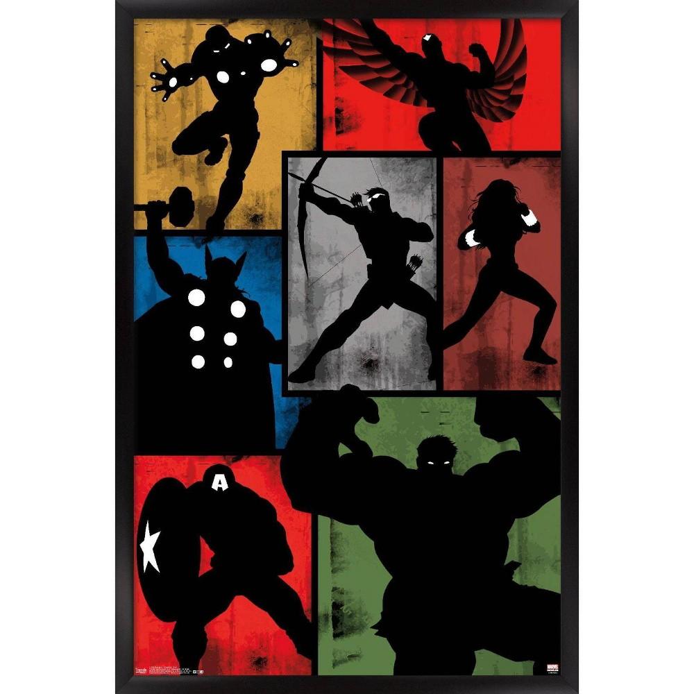 Avengers Simplistic Grid Framed Poster Trends International