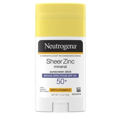 Neutrogena Sheer Zinc Vitamin E Sunscreen Stick - SPF 50 - 1.5 oz