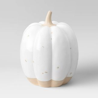 "4.5"" x 4"" Decorative Ceramic Pumpkin Cream - Threshold™"