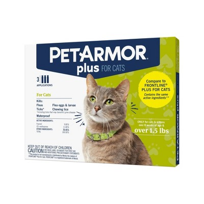 PetArmor Plus Flea and Tick Topical Treatment for Cats - Over 1.5lbs - 3 Month Supply - 0.051 fl oz