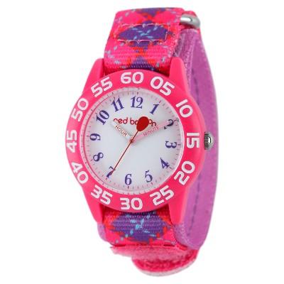 Girls' Red Balloon Pink Plastic Time Teacher Watch - Pink