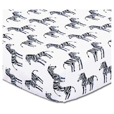 The Peanut Shell Cotton Fitted Crib Sheet - Indio Zebra