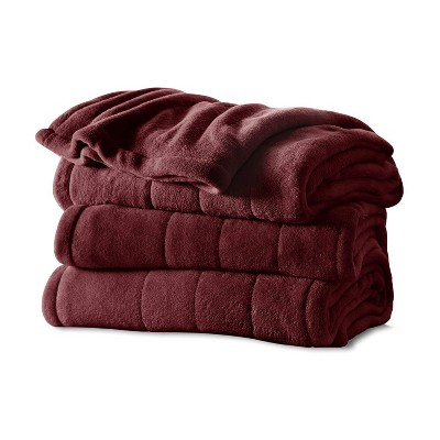 Sunbeam Full Size Channeled Soft Microplush Heated Electric Blanket with 10 Heat Settings and Auto Shutoff, Garnet