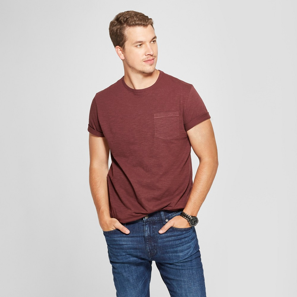 Men's Standard Fit Short Sleeve Pocket Crew Neck T-Shirt - Goodfellow & Co Berry Cobbler S