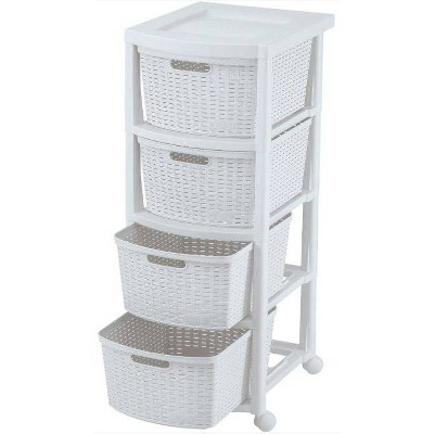 4 Drawer Rolling Cart White - Inval