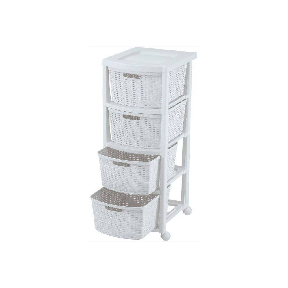 Image of 4 Drawer Rolling Cart White - Inval