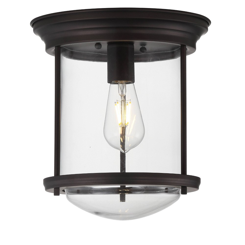"Image of ""10.25"""" Savannah Metal/Glass LED Flush Mount Black (Includes Energy Efficient Light Bulb) - JONATHAN Y"""