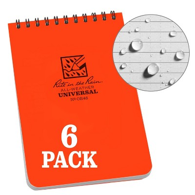 """6pk Spiral Notebook 1 Subject Special Ruled 4"""" x 6"""" Orange - Rite in the Rain"""