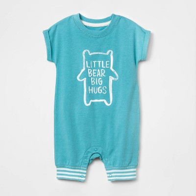 Baby Boys' Little Bear Hugs Short Romper - Cat & Jack™ Aqua Newborn