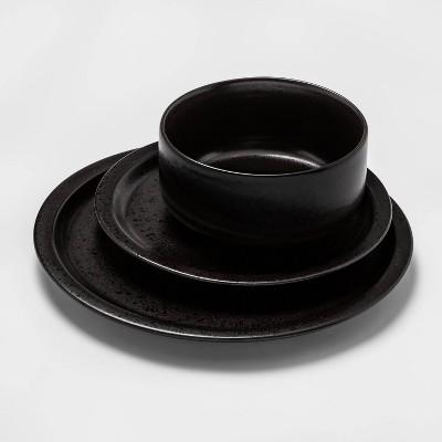 12pc Porcelain Ravenna Dinnerware Set Black - Project 62™