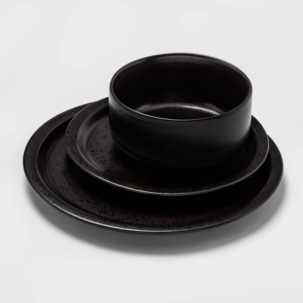12pc Porcelain Ravenna Dinnerware Set Black Project 62 8482