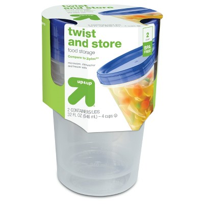Twist and Store Large Round Food Storage Container - 2ct/32 fl oz - up & up™