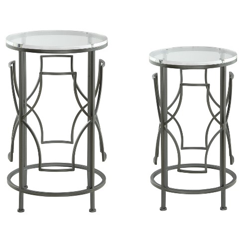 Ramon Round Acrylic Nesting Tables (Set of 2) - Clear - Treasure Trove - image 1 of 5