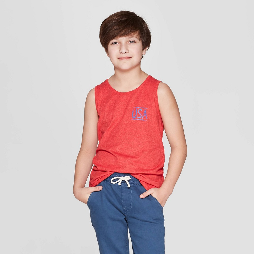 Boys' USA Graphic Tank Top - Cat & Jack Red M