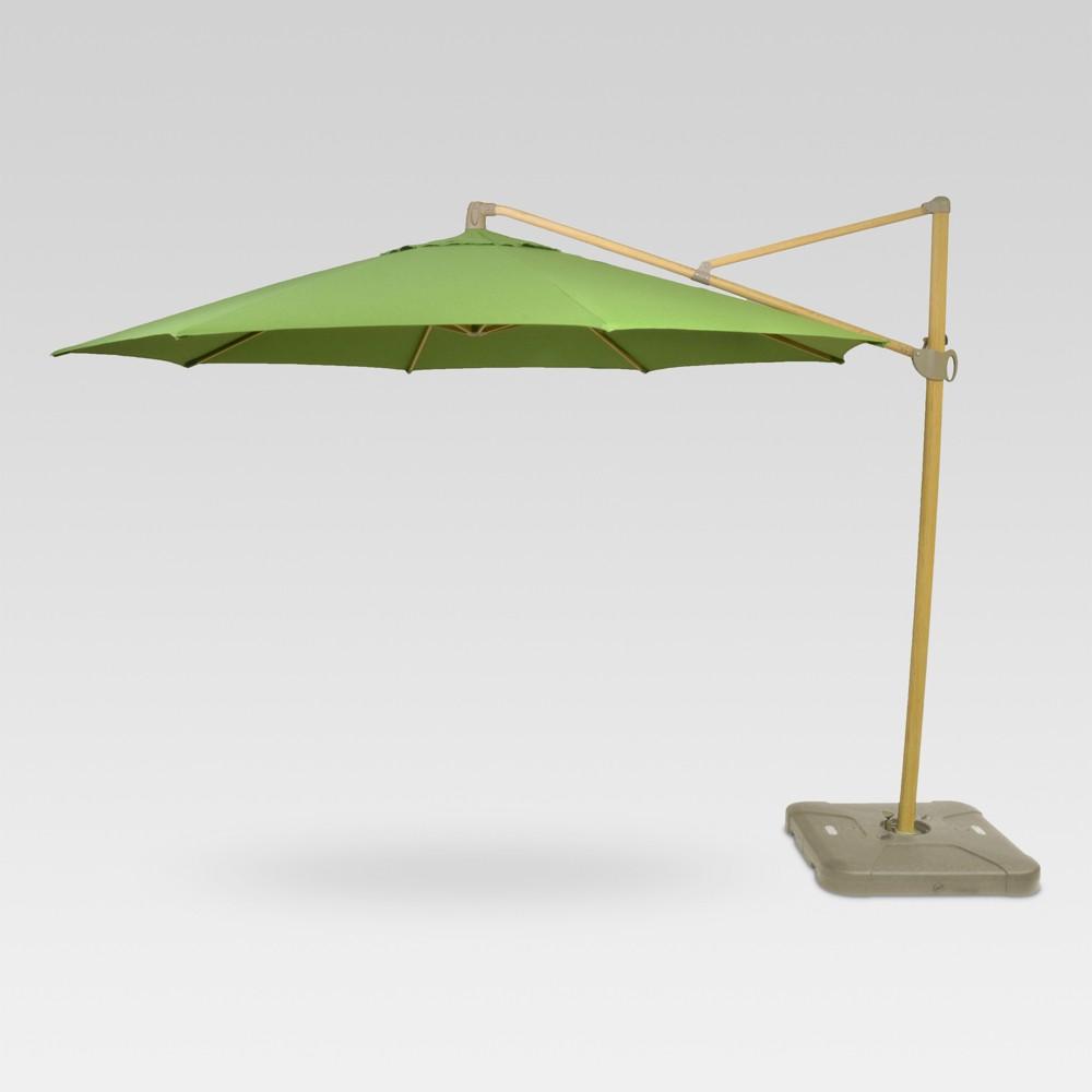 11' Offset Umbrella - Green - Light Wood Finish - Threshold