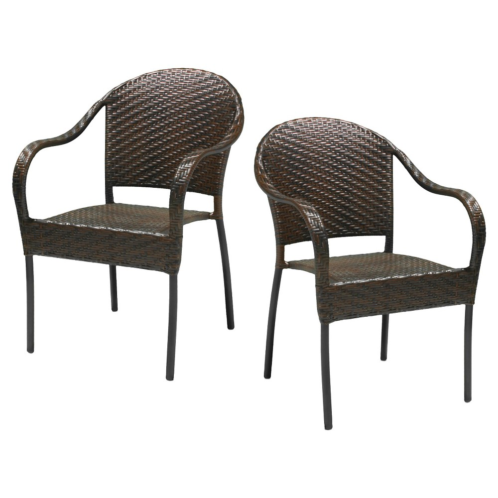 Sunset Set of 2 Wicker Patio Chairs - Brown - Christopher Knight Home