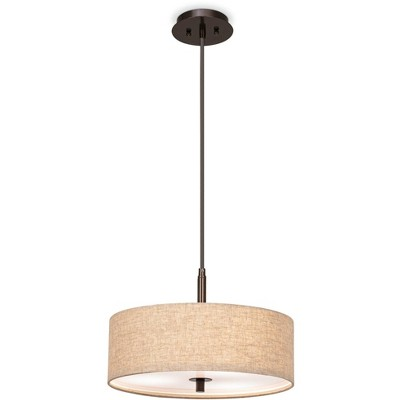 "Possini Euro Design Bronze Drum Pendant Chandelier 16"" Wide Modern Cream Fabric Drum Shade Fixture for Dining Room House Kitchen"