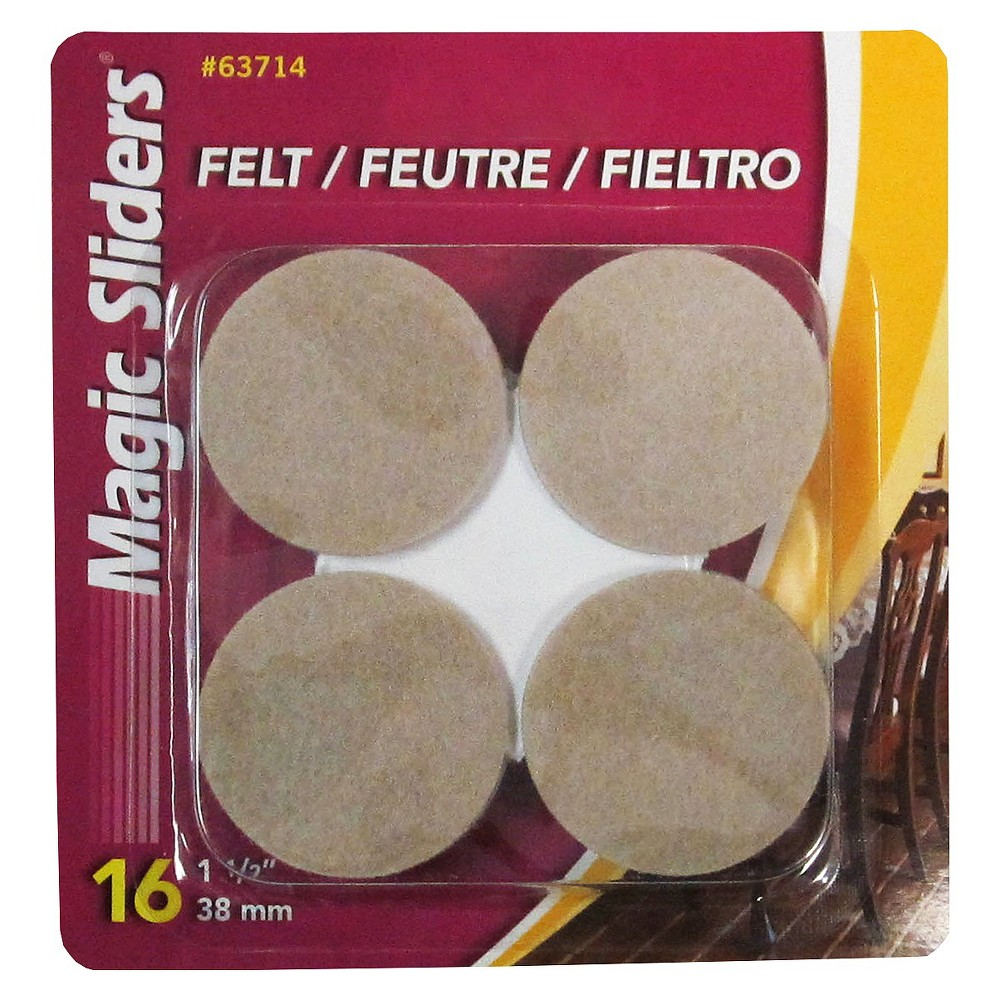 Magic Felt 1.5 Rd Self Stick Pads Perfect for furniture - chairs and sofas - that damage floorsand small objects, like lamps, computer equipment, and appliances that ruin table-tops and desks.
