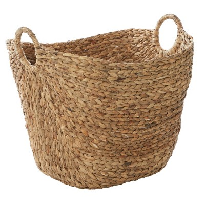 "Olivia & May 20""x19"" Extra Large Oval Seagrass Wicker Basket with Handles Natural"