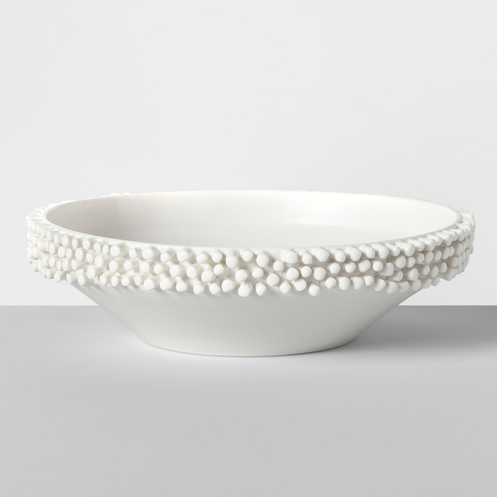 """Image of """"10.5"""""""" x 2.9"""""""" Porcelain Tufted Bowl White - Opalhouse"""""""