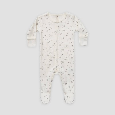 Q by Quincy Mae Baby Star Brushed Jersey Footed Pajama with Handcuffs - Ivory 3-6M