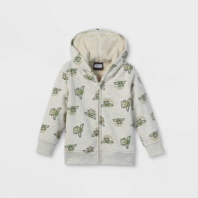 Toddler Boys' Star Wars Baby Yoda Sherpa Lined Zip-Up Sweatshirt - Gray 2T