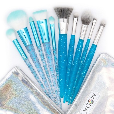 MODA Brush Frozen Fantasy 12pc Makeup Brush Bundle with Holographic Zip Case, Includes - Flat Kabuki, Accentuate, Super Crease,  and Smoky Eye Brushes