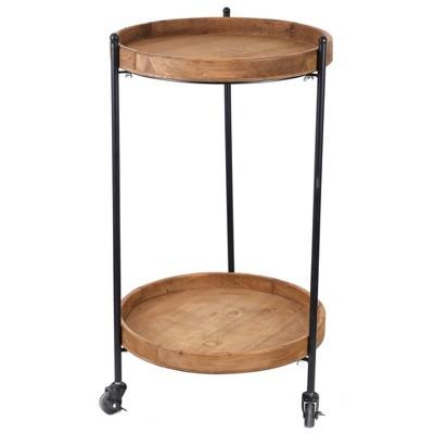 2 Tier Round Bar Cart Wood - Vintiquewise