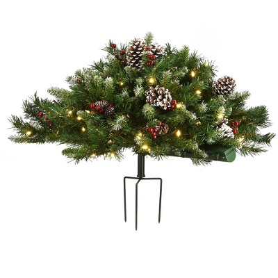 2.5ft National Tree Company Flocked Berry Urn Filler Red Berries Tripod Stake Warm White Battery Op LED Lights with Timer