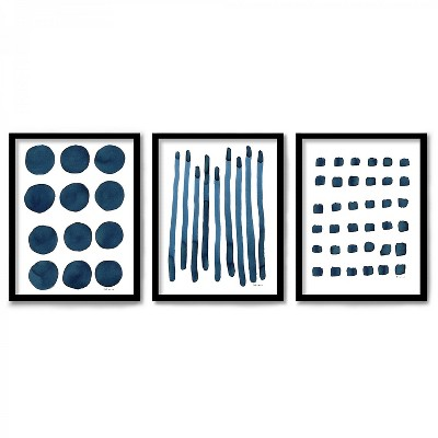 Americanflat Triptych Wall Art Mid Century Minimalist by Dreamy Me - Set of 3 Framed Prints