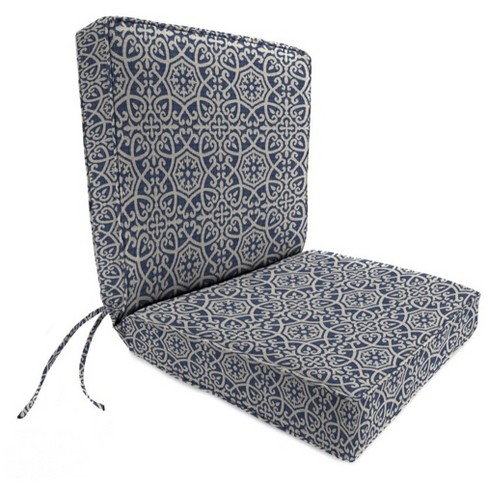 Outdoor Boxed Edge Dining Chair Cushion In Ayathena Sapphire - Jordan Manufacturing - image 1 of 1