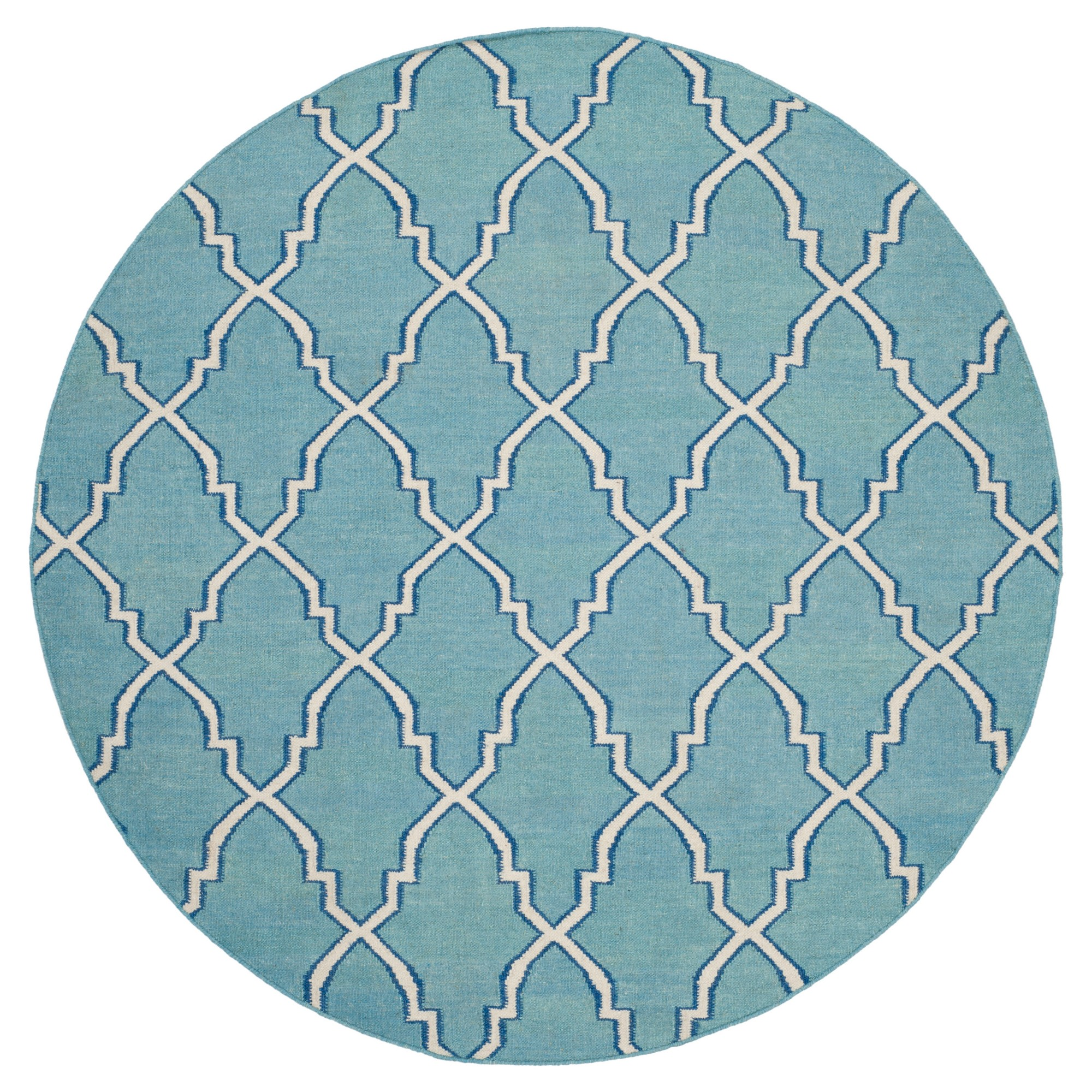 Dakhla Dhurry Rug - Light Blue/Ivory - (6'x6' Round) - Safavieh