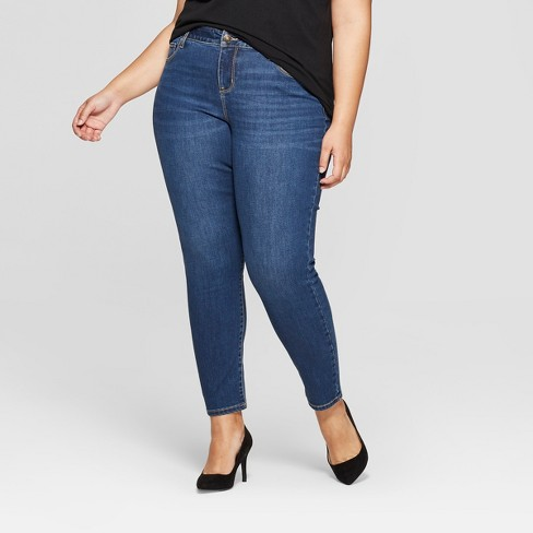 Women's Plus Size Skinny Jeans - Ava & Viv™ Medium Wash - image 1 of 4
