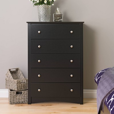 5 Drawer Dresser Black - Prepac