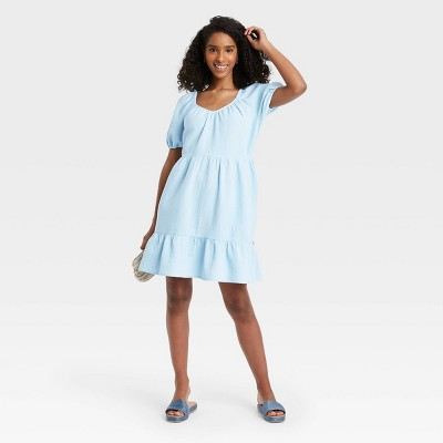 Women's Puff Short Sleeve Tiered Babydoll Dress - Universal Thread™