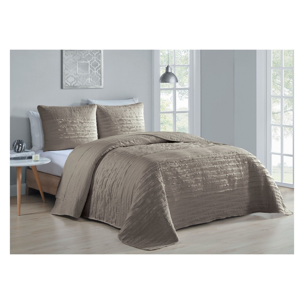 3pc Queen Spain Quilt Set Taupe (Brown) - Avondale Manor