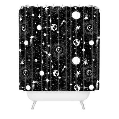 Heather Dutton Solar System Shower Curtain Black/White - Deny Designs