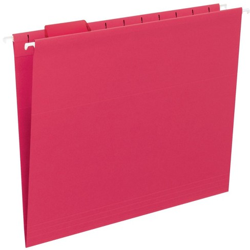 Smead Vinyl Tab/Mediumweight Stock 1/5 Cut Hanging Folder, Letter, 2 Inch Expansion, Red, pk of 25 - image 1 of 1